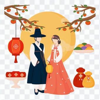 站在傳統服飾的男人和女人