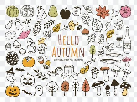 秋季手繪圖標插畫集