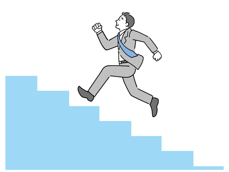 A male office worker who climbs the stairs lightly