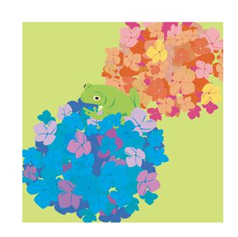 繡球花和青蛙