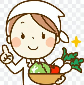 Cooking teacher with vegetables