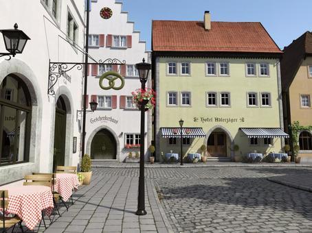 晴天の中世建築風の街の風景