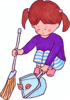 A girl sweeping the fallen leaves