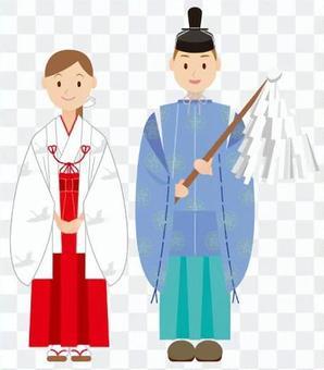 神道女祭司和少女紫色
