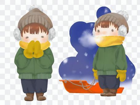 冬の厚着した子供