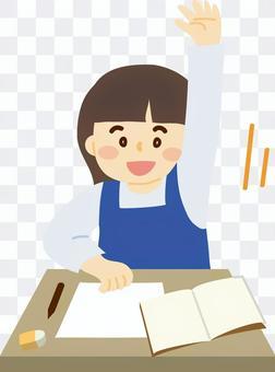 舉起她的手並在C類中講話的女孩的插圖
