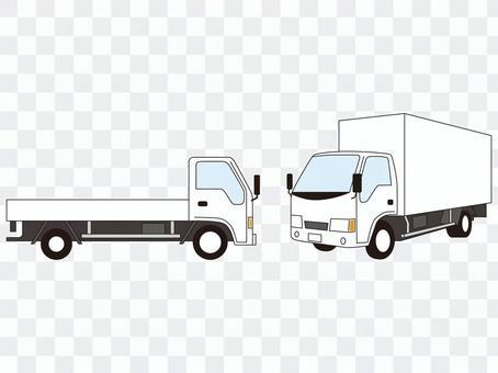 就在卡車旁邊,斜前方