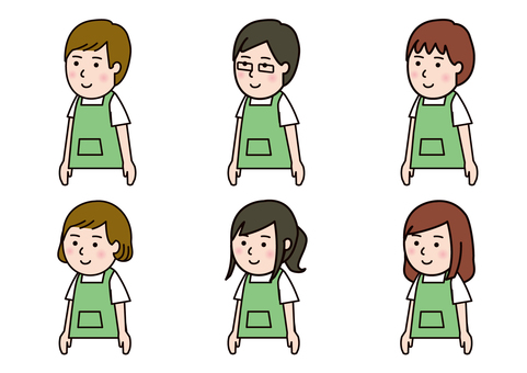 Men's and women's set color in apron