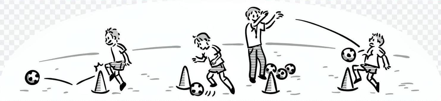 輕輕手繪足球練習風光