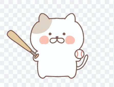 棒球印花布貓