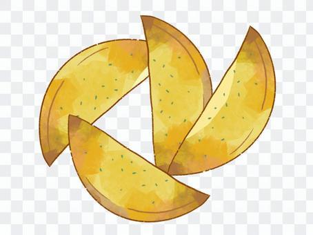 用歐芹切炸薯條