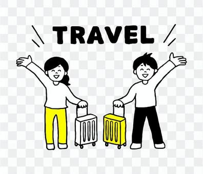 旅行する男性女性(シンプル)