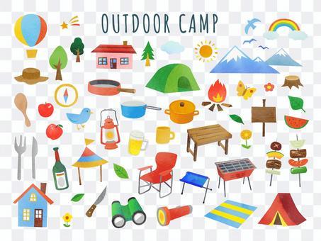 戶外和露營的插圖集
