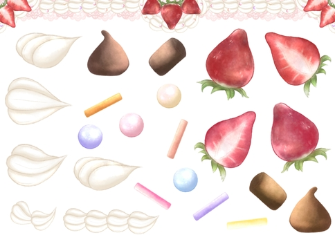 Strawberry and whipped cream illustration set