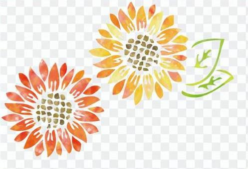 水彩向日葵