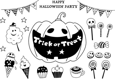 Halloween sweets illustration set black and white