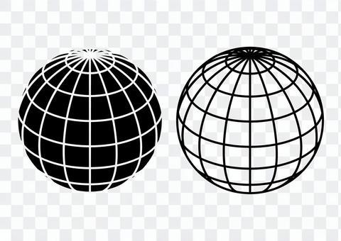 地球儀セット モノクロ
