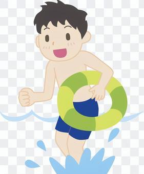 海水浴の男の子