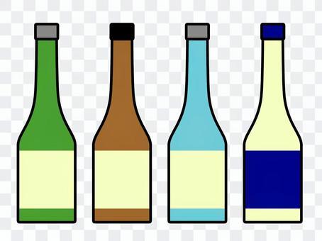 清酒瓶套裝綠色棕色淺藍色透明