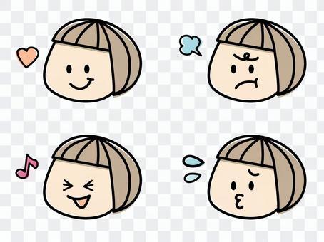 手寫風格女孩的面部表情