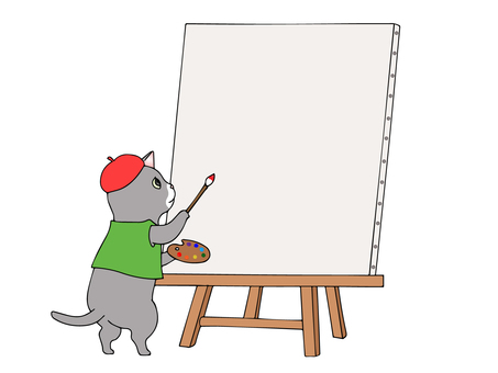 Cat drawing a picture