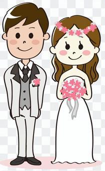 新娘和新郎花圈整個身體