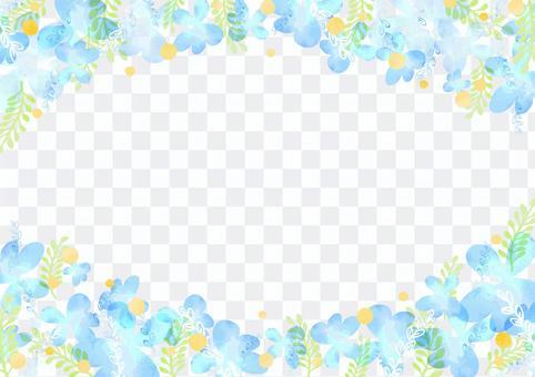 少女材料047藍色花框架