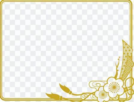Plum Japanese pattern frame _ gold frame