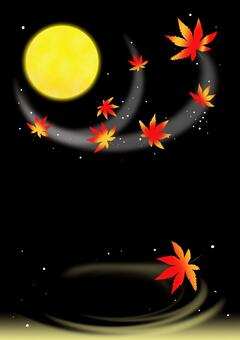 Autumn leaves moonlit night