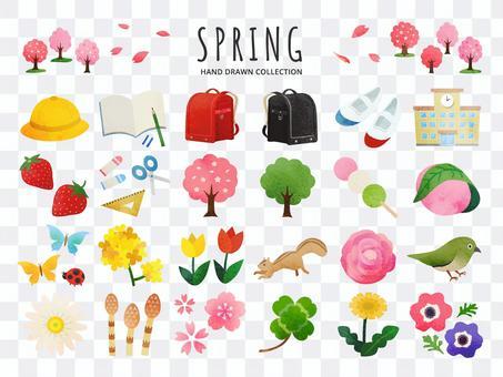 春と花と入学の手描きイラストセット