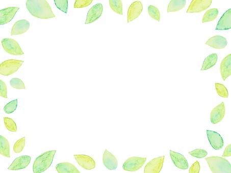 Watercolor leaf frame square