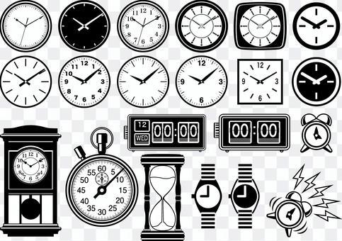 Various clock silhouette line art set