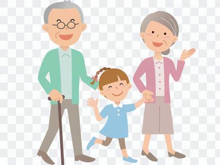 60424. Senior couple and grandchild, walk