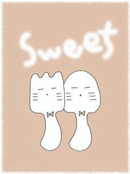 叉子和勺子組合粉紅色甜SWEET