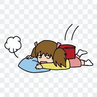 一個疲倦的小學生,一回到家就崩潰了
