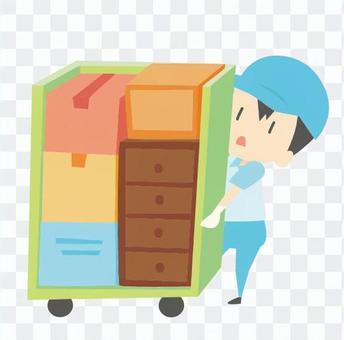 引っ越し-荷物を積んだボックスを運ぶ作業員