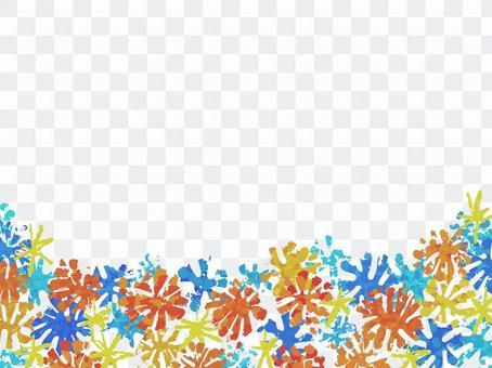 手描きデフォルメ花の絵本風背景素材