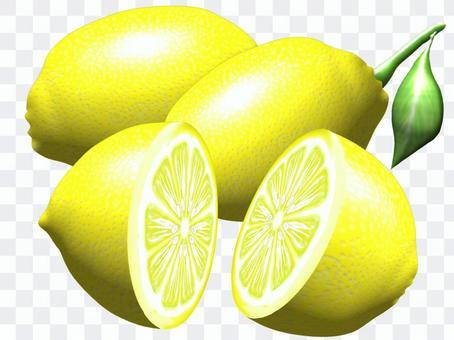 檸檬的插圖(與整個削減和葉子)