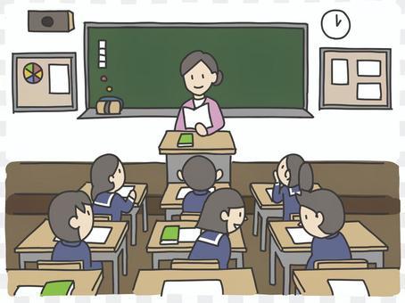 有老師和學生的教室