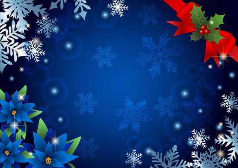 ポインセチアと雪のクリスマス背景青