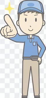 送貨員男性 - 手指指向確認 - 全身