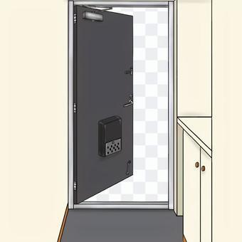 玄関ドア 黒 半開き
