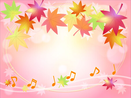 Notes and autumn leaves background Pink