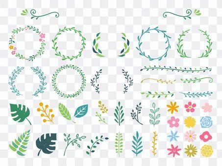 綠色和花卉裝飾框架