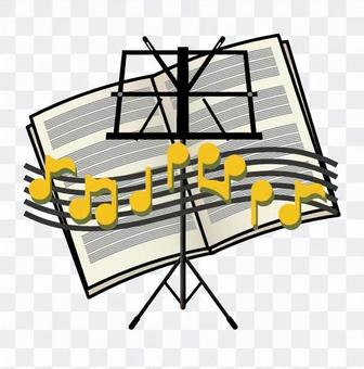 Music stand and score
