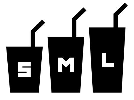 帶字母:SML 大小的飲料圖標 A
