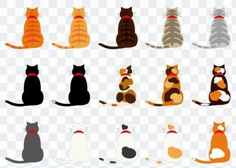 貓(15個沒有輪廓的後視圖)