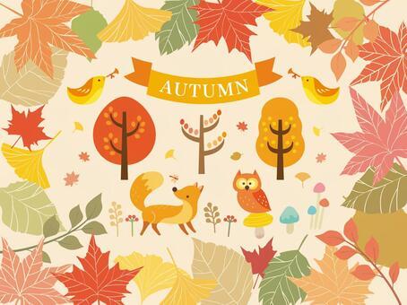 秋天的森林的插圖集合