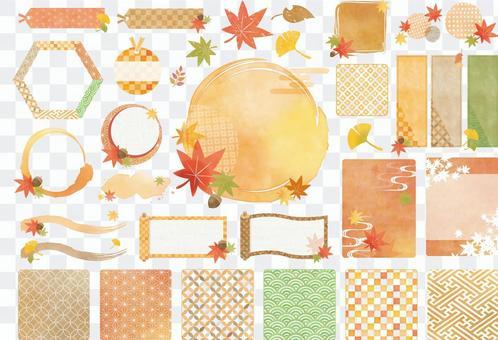 秋季水彩風格日式花紋