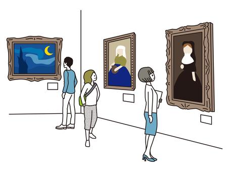 미술관에서 그림 감상을하는 남녀